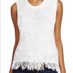 White fringe Ella moss sleeveless sweater